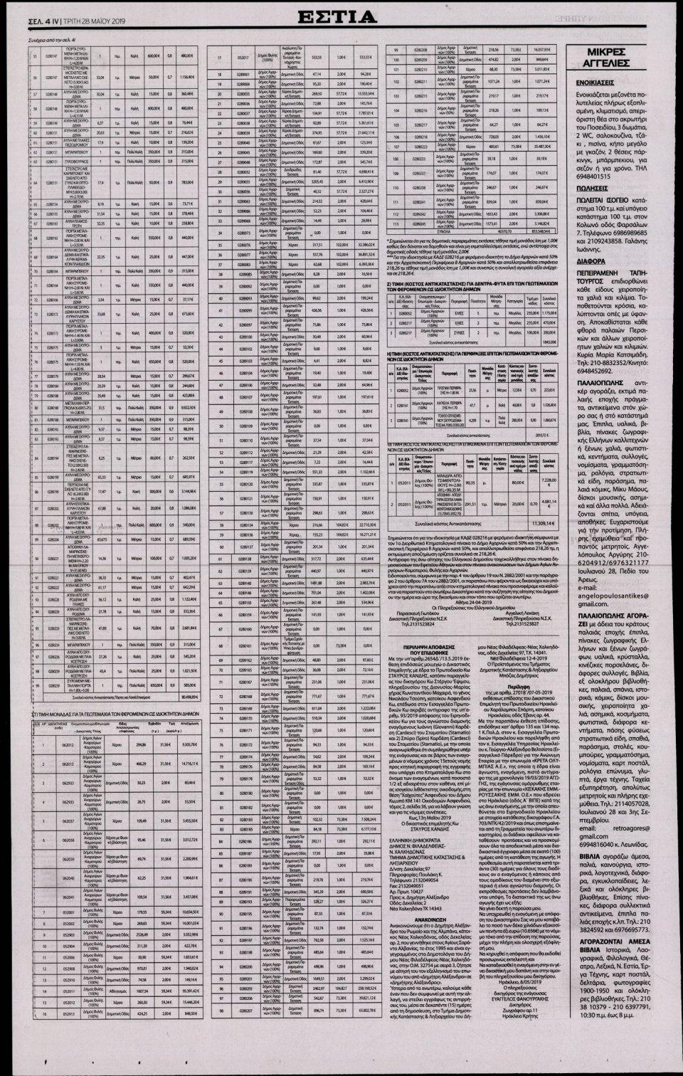 Οπισθόφυλλο Εφημερίδας - ΕΣΤΙΑ - 2019-05-28