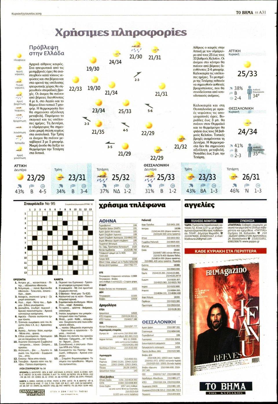 Οπισθόφυλλο Εφημερίδας - ΤΟ ΒΗΜΑ ΤΗΣ ΚΥΡΙΑΚΗΣ - 2019-06-09