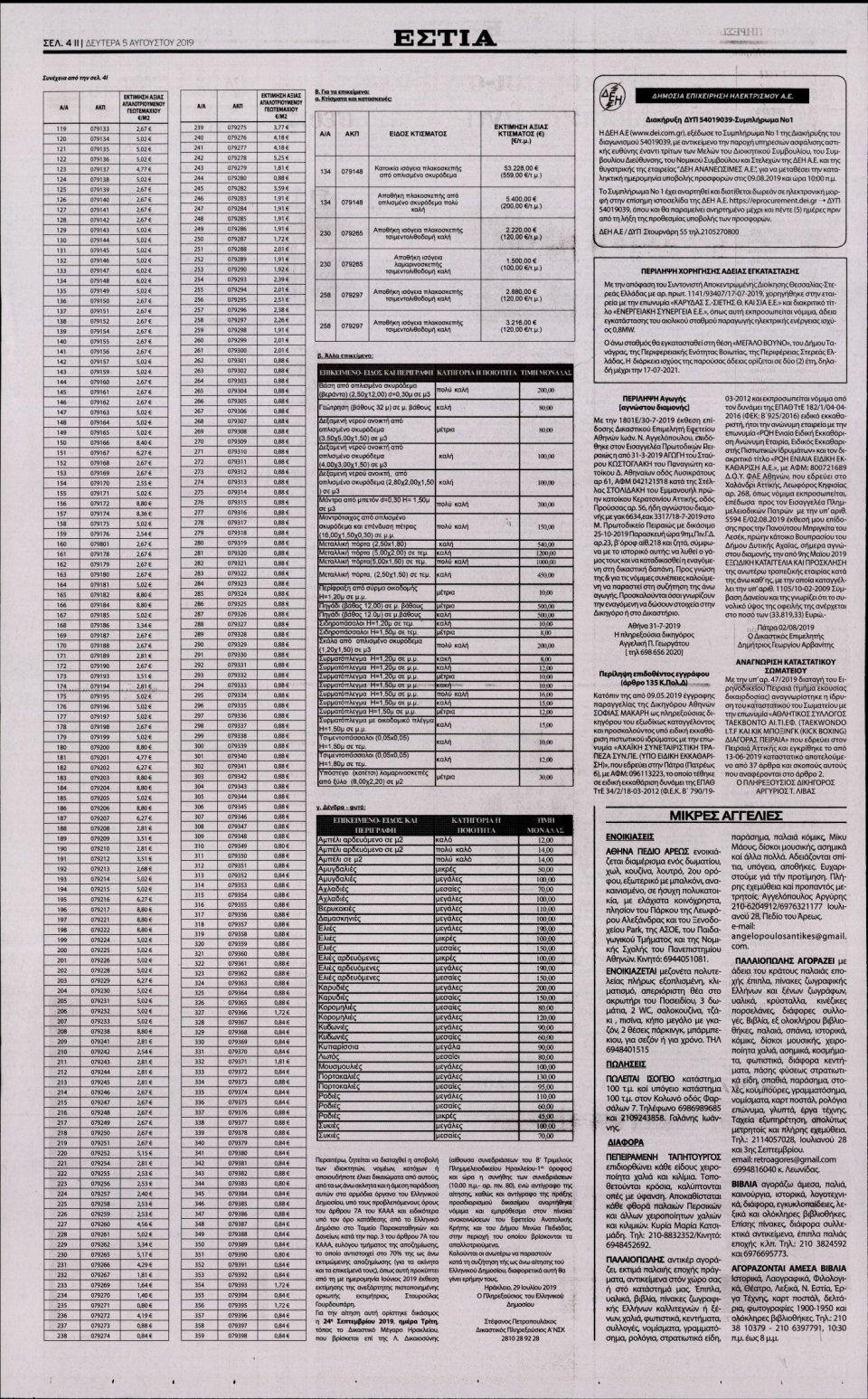 Οπισθόφυλλο Εφημερίδας - ΕΣΤΙΑ - 2019-08-05