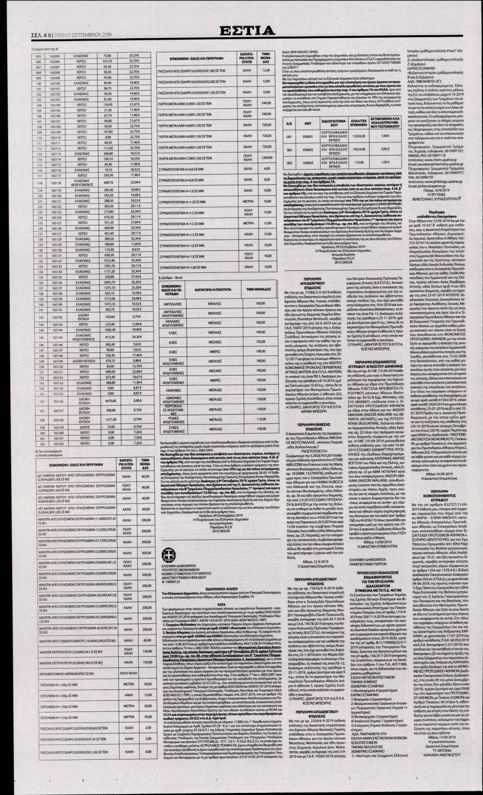 Οπισθόφυλλο Εφημερίδας - ΕΣΤΙΑ - 2019-09-17