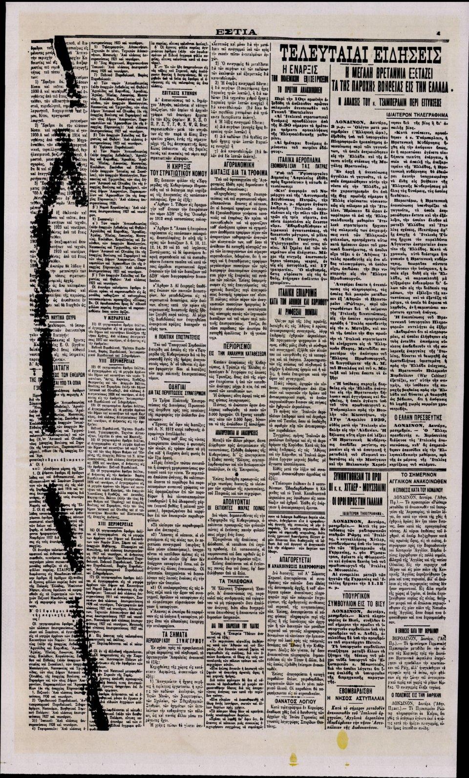 Οπισθόφυλλο Εφημερίδας - ΕΣΤΙΑ - 2019-10-26