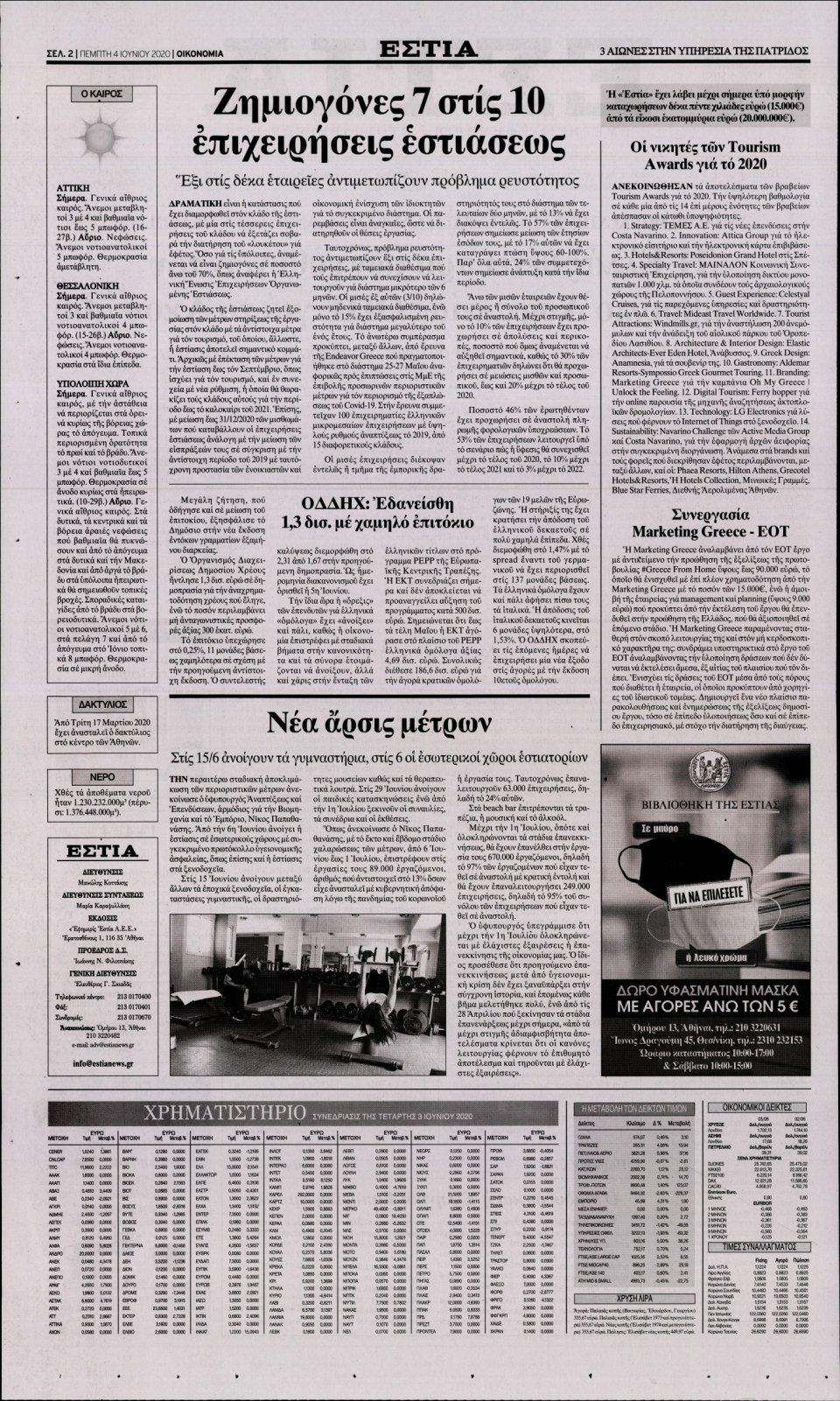Οπισθόφυλλο Εφημερίδας - ΕΣΤΙΑ - 2020-06-04