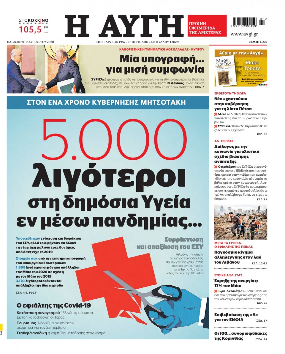 Πρωτοσέλιδο Εφημερίδας - Αυγή - 2020-08-07