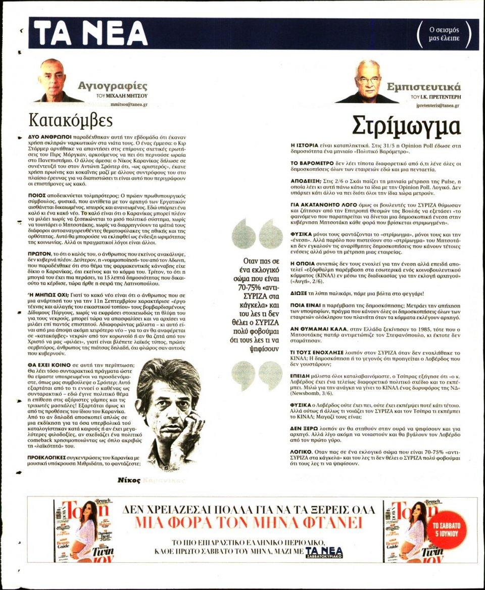 Οπισθόφυλλο Εφημερίδας - Τα Νέα - 2021-06-04