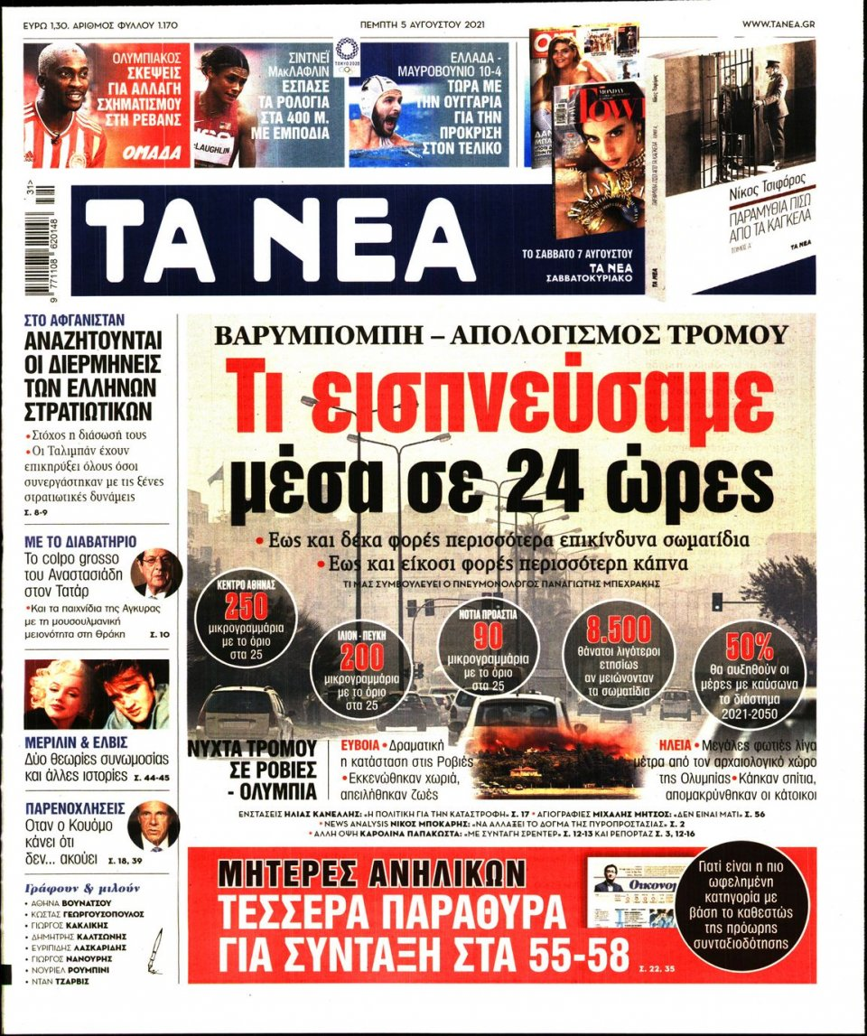 Πρωτοσέλιδο Εφημερίδας - Τα Νέα - 2021-08-05